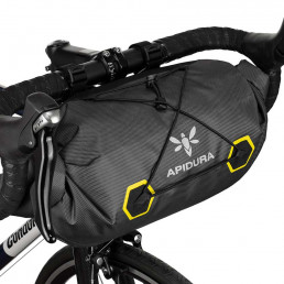 Apidura-Expedition-Handle-Bar-Pack-14L-Attached-to-the-handle-bar