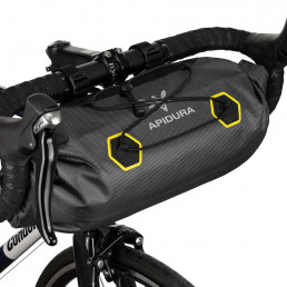 Apidura Expedition Handle Bar Pack 9L Front shoot on the handlebar on bike