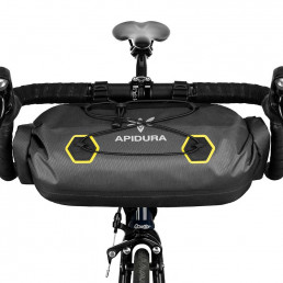Apidura Expedition Handle Bar Pack 9L Front shoot on the handlebar