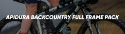 Apidura Backcountry Full Frame Pack premium bikepacking Booda Bike header