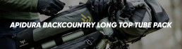 Apidura Backcountry Long Top Tube Pack 1,8 liter premium bikepacking Booda Bike Header